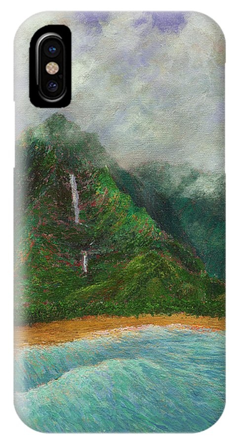 Coastal Decor IPhone X Case featuring the painting Distant Falls by Kenneth Grzesik