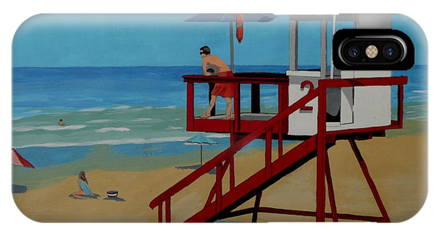 Lifeguard IPhone X / XS Case featuring the painting Distracted Lifeguard by Anthony Dunphy
