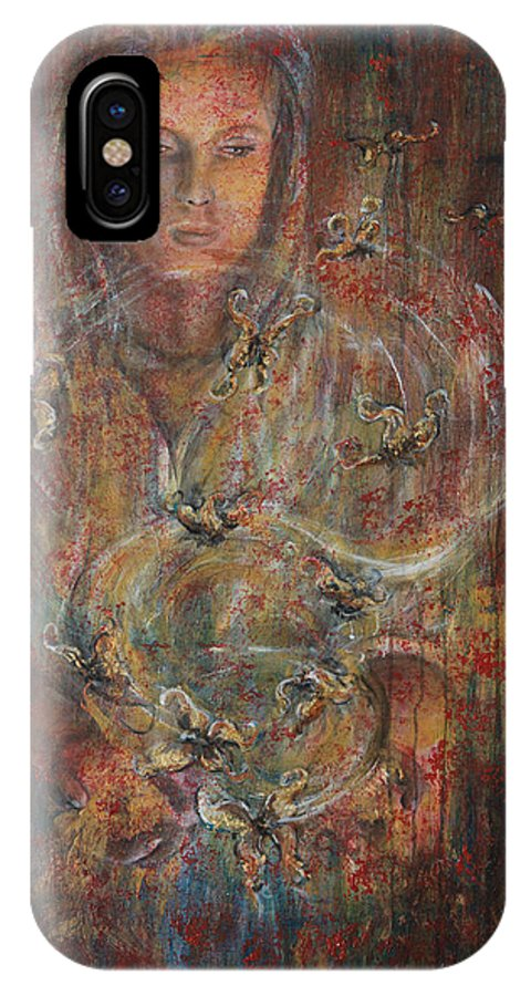Divination IPhone X Case featuring the painting Divination by Nik Helbig