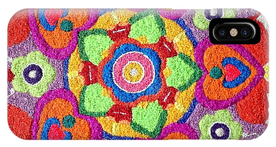Rangoli IPhone X Case featuring the mixed media Diwali Rangoli Made With Coloured Rice by Asha Aditi Ruparelia