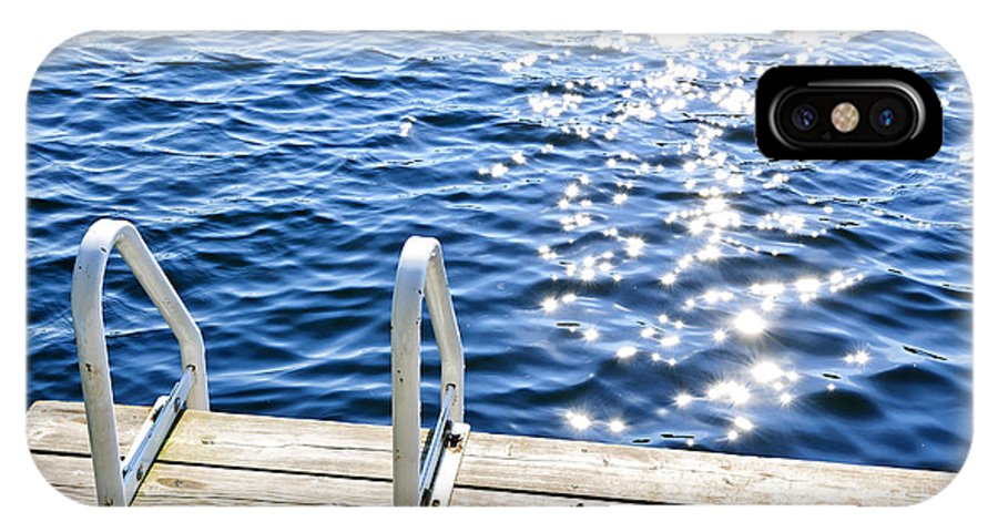 Dock IPhone X Case featuring the photograph Dock On Summer Lake With Sparkling Water by Elena Elisseeva