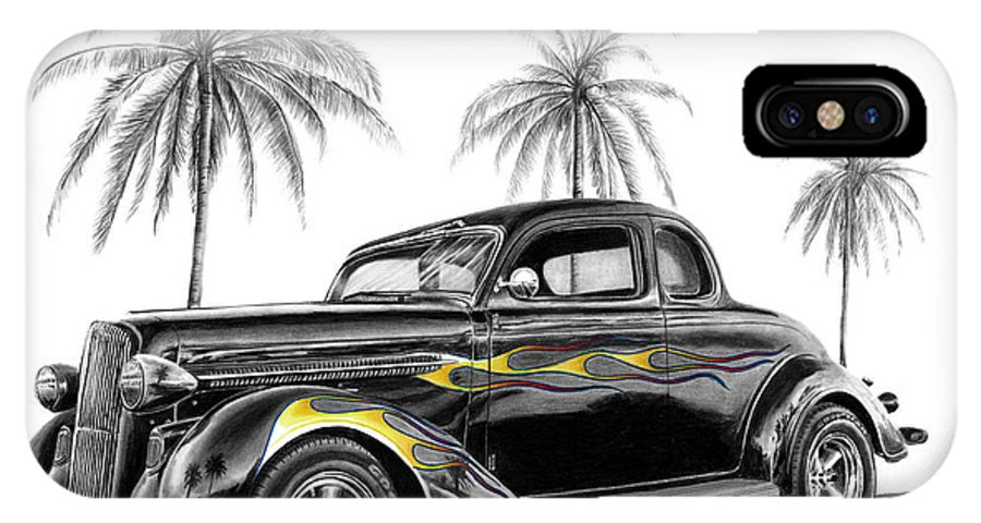 1936 Dodge Coupe IPhone X / XS Case featuring the drawing Dodge Coupe by Peter Piatt