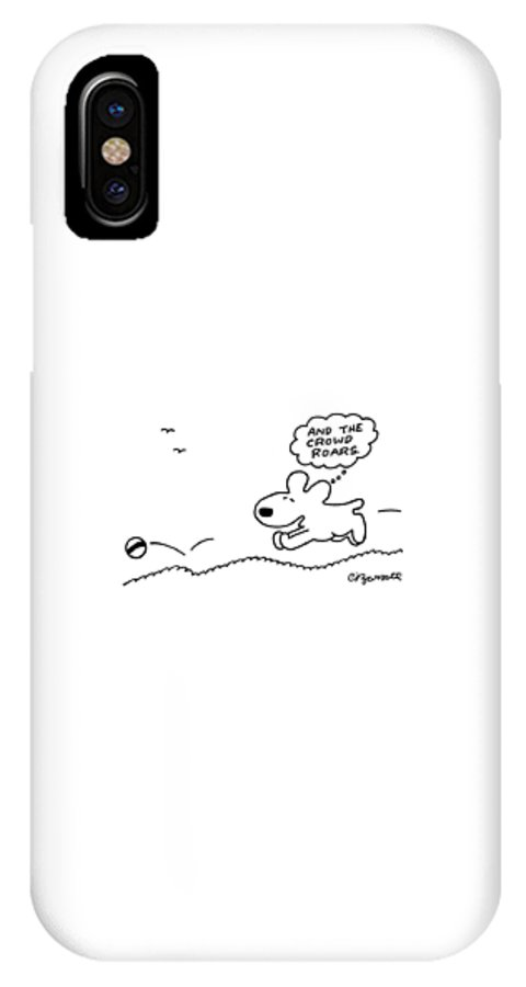 Dog IPhone X Case featuring the drawing Dog Chases After A Ball by Charles Barsotti