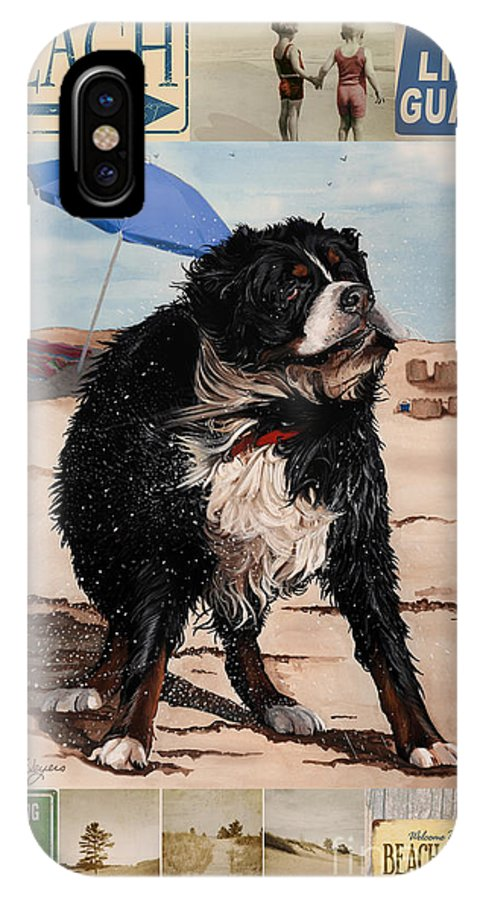 Bernese Mountain Dog IPhone X Case featuring the painting Dog Days Of Summer V2 by Liane Weyers