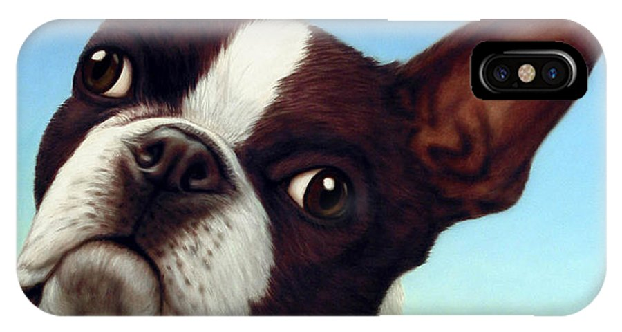 Dog IPhone X / XS Case featuring the painting Dog-nature 4 by James W Johnson