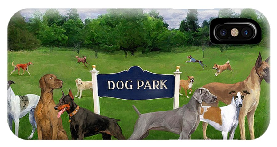 Dog IPhone X Case featuring the painting Dog Park by Frank Harris