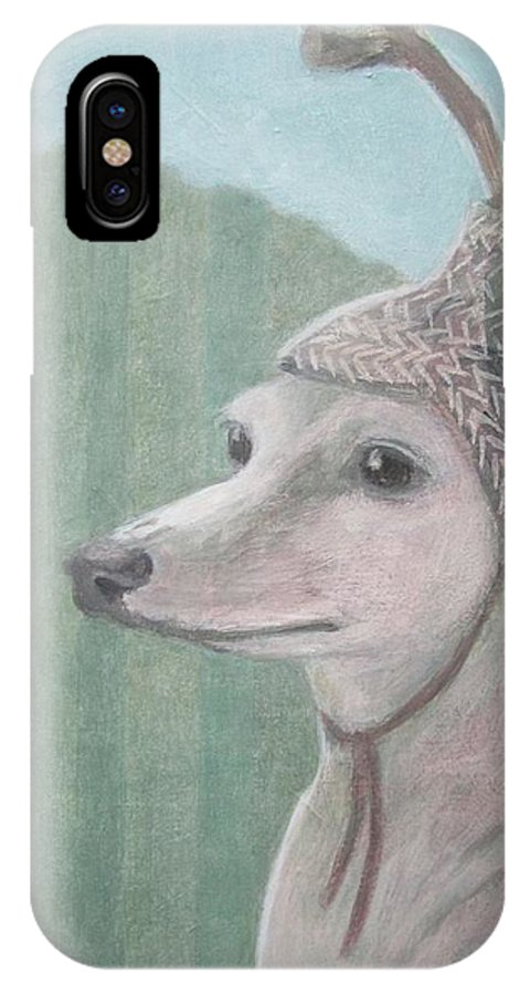Dog With Antlers IPhone X / XS Case featuring the painting Dog With Antlers by Kazumi Whitemoon