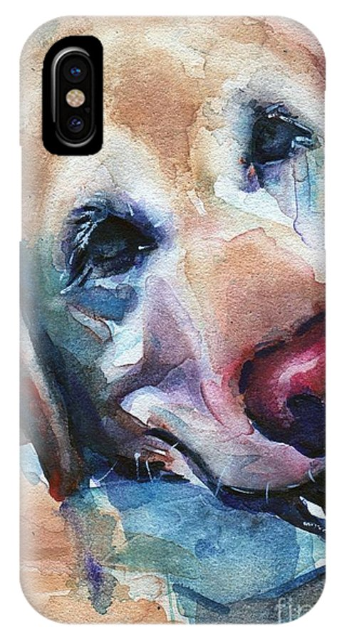 Dog Art IPhone X Case featuring the painting Doggie Breath by Maria's Watercolor