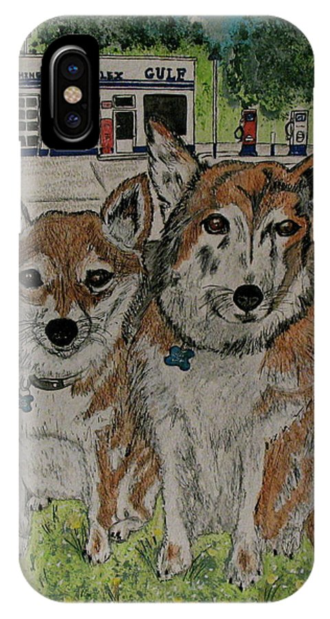 Dogs IPhone X Case featuring the painting Dogs in front of the Gulf Station by Kathy Marrs Chandler