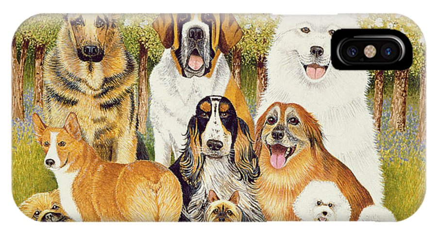 Dog IPhone X Case featuring the painting Dogs In May by Pat Scott