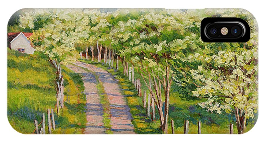 Impressionism IPhone X Case featuring the painting Dogwood Allee by Keith Burgess
