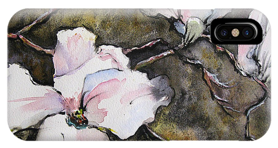 Watercolor IPhone X Case featuring the painting Dogwood by Gwen Nichols