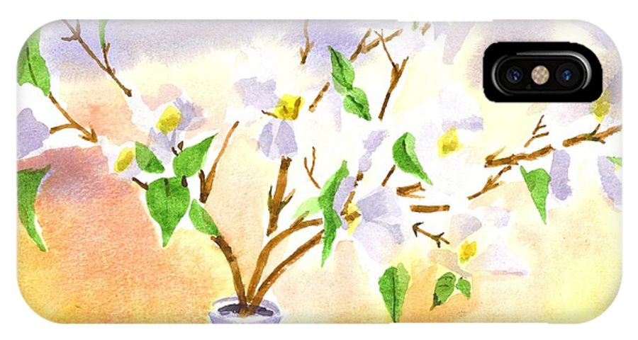 Dogwood In Watercolor IPhone X Case featuring the painting Dogwood In Watercolor by Kip DeVore