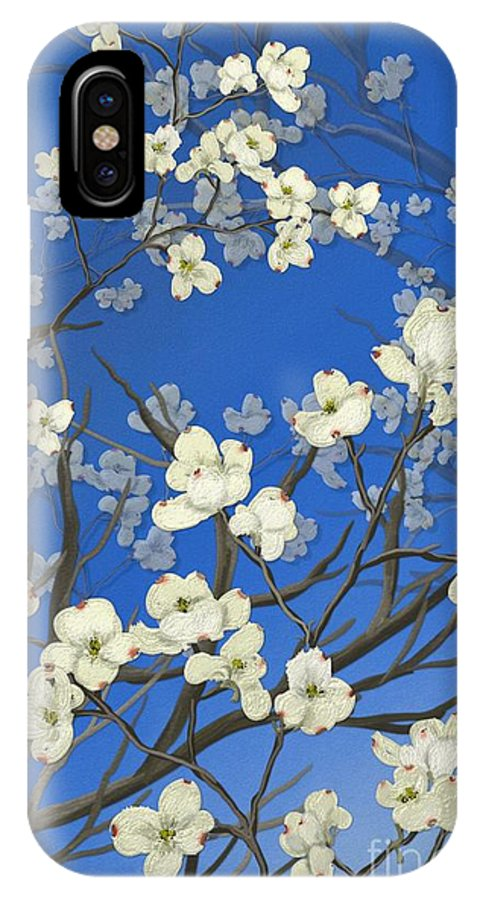 Floral Painting IPhone X Case featuring the painting Dogwood Trees by Nancy Long