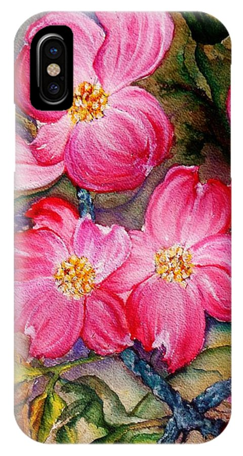 Pink Flowers IPhone X / XS Case featuring the painting Dogwoods In Pink by Lil Taylor