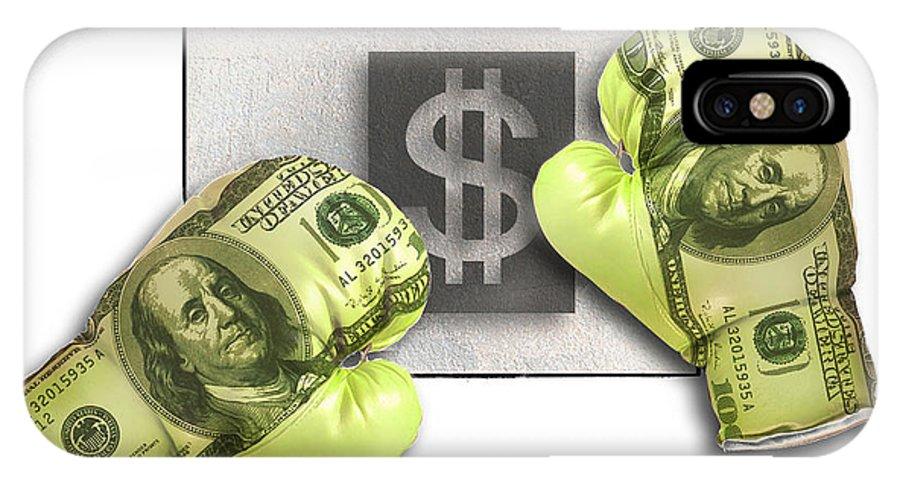 Dollars IPhone X Case featuring the digital art Dollar Gloves-1 by Chris Van Es