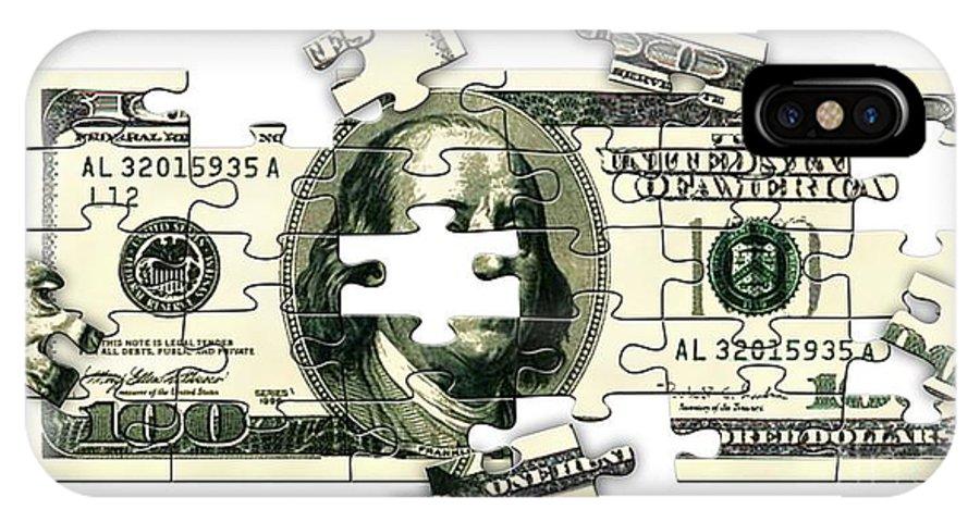 Money IPhone X Case featuring the digital art Dollar Puzzle-2 by Chris Van Es