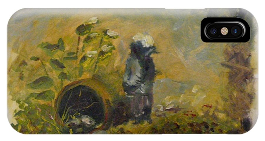 Landscape IPhone X Case featuring the painting Dolly's Fountain by Steve McArthur