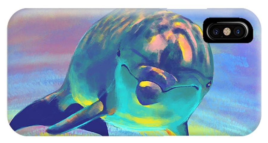 Dolphin IPhone X Case featuring the digital art Dolphin by Bernadett Kovacs