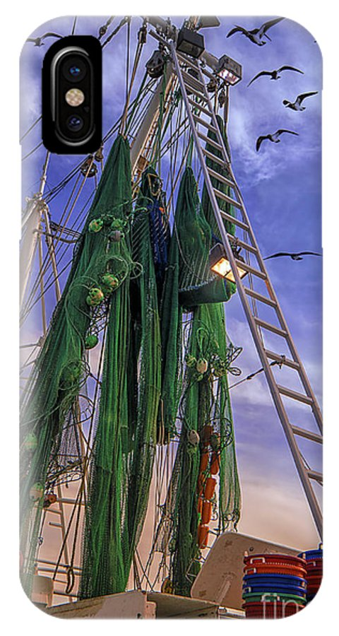Shrimp Boat IPhone X Case featuring the photograph Done Shrimping At Tybee Island by Priscilla Burgers