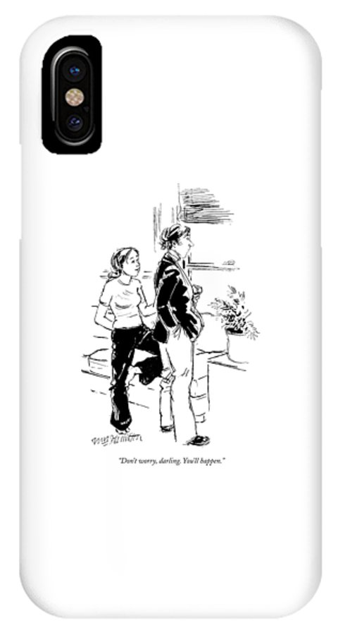 (woman To Man Staring Out Window.) Problems IPhone X Case featuring the drawing Don't Worry by William Hamilton
