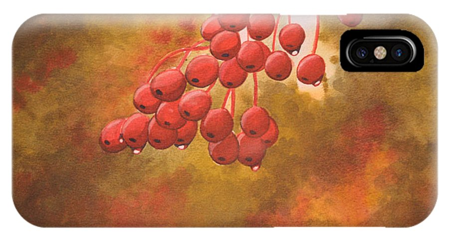 Rick Huotari IPhone X Case featuring the painting Door County Cherries by Rick Huotari