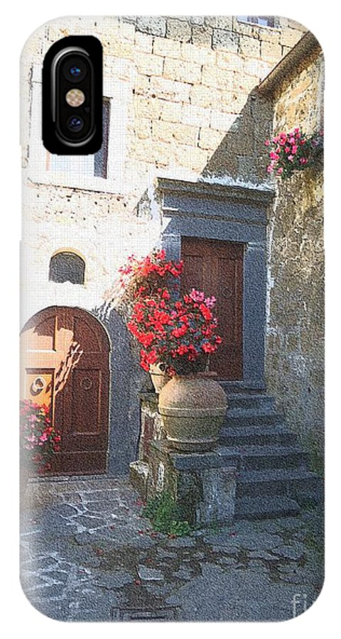 Piazza IPhone X Case featuring the photograph Doors In Bagnoregio by Barbie Corbett-Newmin