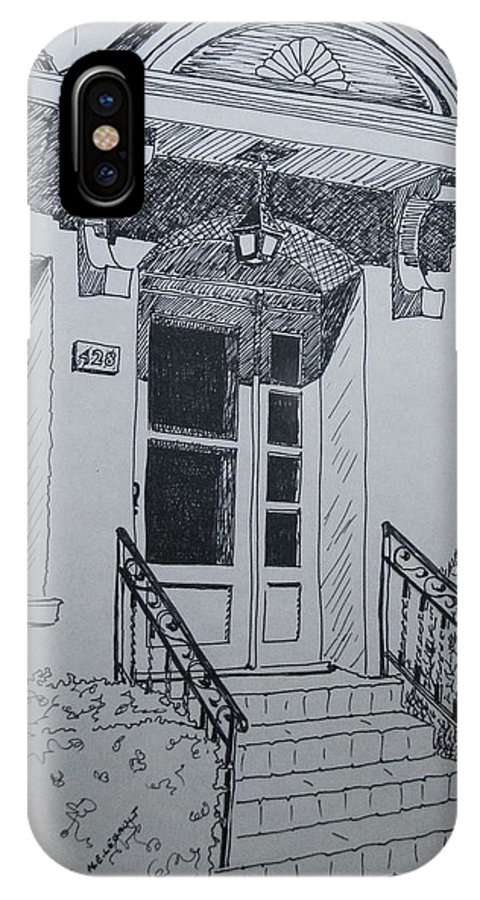 Pen And Ink IPhone X Case featuring the drawing Doorway by Mary Ellen Mueller Legault