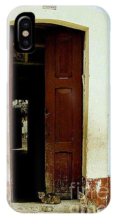 Cats IPhone X Case featuring the photograph Dos Puertas Con Dos Gatos by Kathy McClure