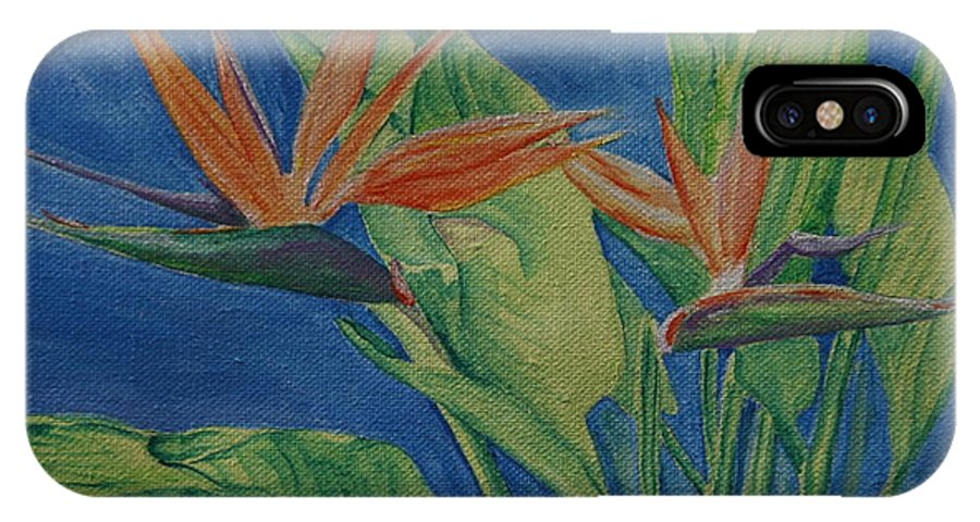 Bird Of Paradise IPhone X Case featuring the painting Double Bird Of Paradise by Cheryl Abbiati