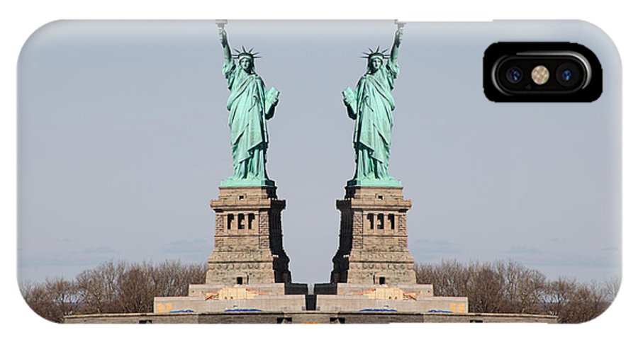 Statue Liberty Of New York Mirror Image IPhone X Case featuring the photograph Double Libertys by Alice Gipson