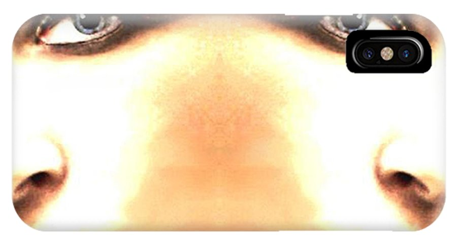 Woman IPhone X Case featuring the mixed media Double Vision by Lesa Fine