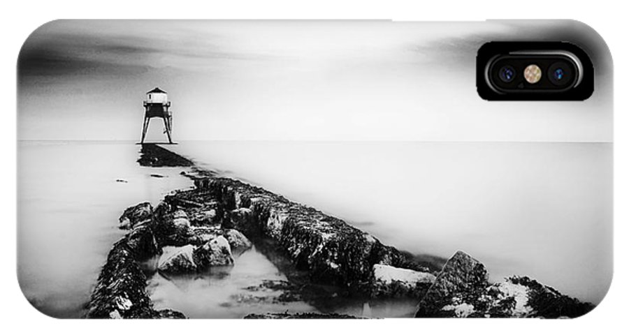 Black And White IPhone X Case featuring the photograph Dovercourt Light House by Malcolm Bumstead