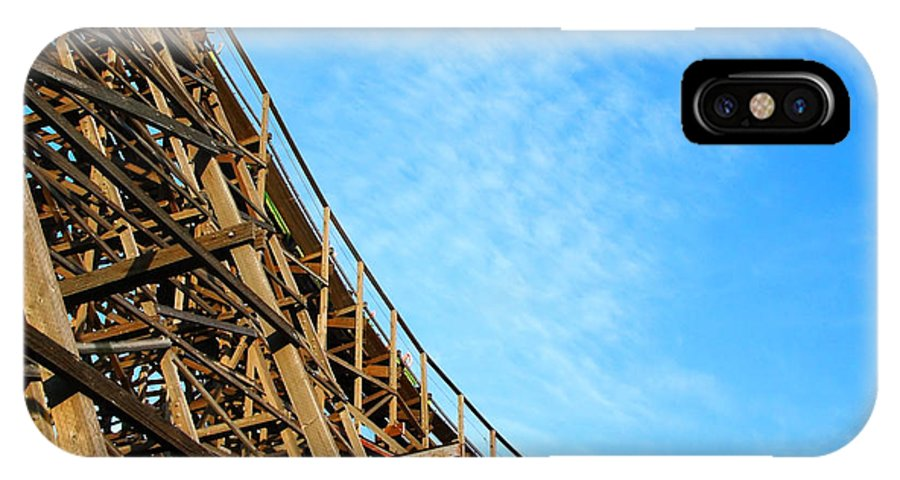 Roller Coaster IPhone X Case featuring the photograph Down A Wooden Roller Coaster Ride by Sylvie Bouchard