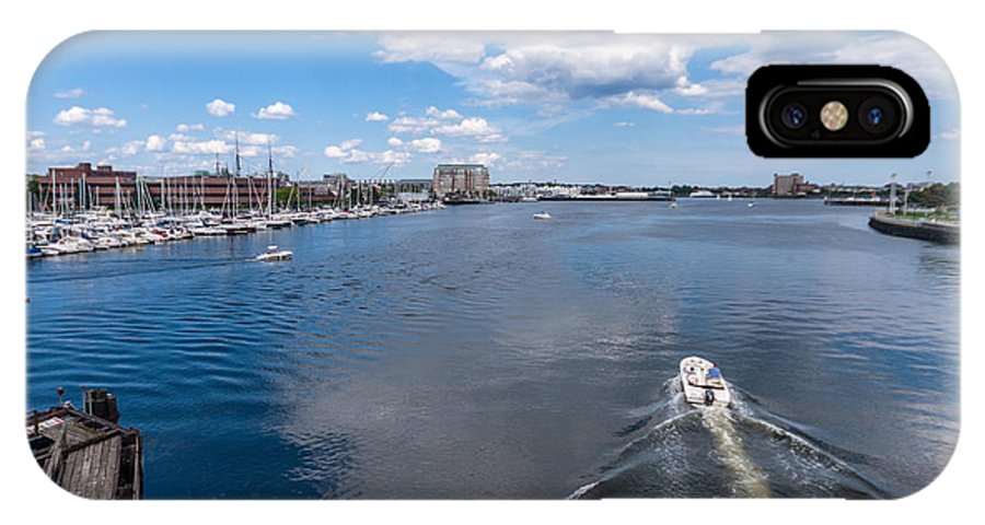 Boston Harbor Charles River Massachusetts Water Lake River Pond Stream Ocean Atlantic Boat Speedboat Motorboat Reflection Cloud Sky Blue Water Pier Dock History Historic White Green Blue Sail Travel Sunny Vibrant Pop Wake Jet Ripple Wave Reflect Reflection City East East Coast Boston Red Sox Bruins Celtics Down By The River Charles River Banks IPhone X Case featuring the photograph Down By The River by Tom Gort