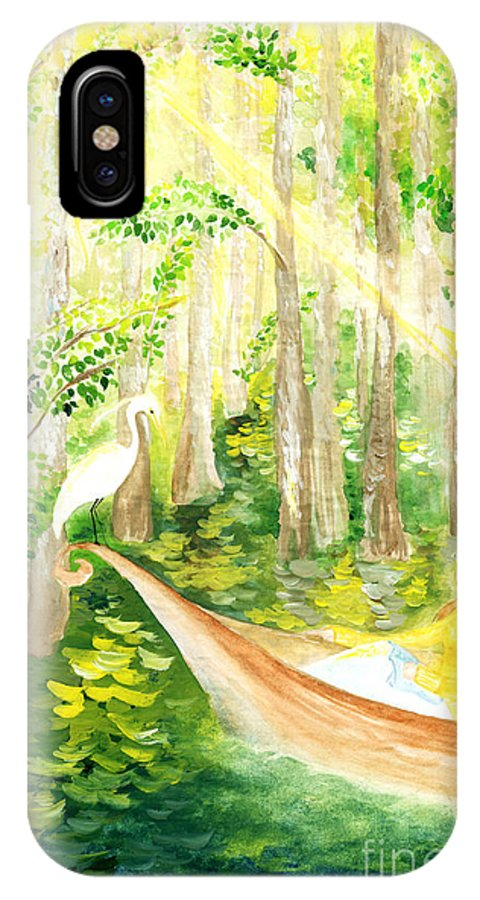 Bayou IPhone X Case featuring the painting Down The Bayou by Kailing Liao
