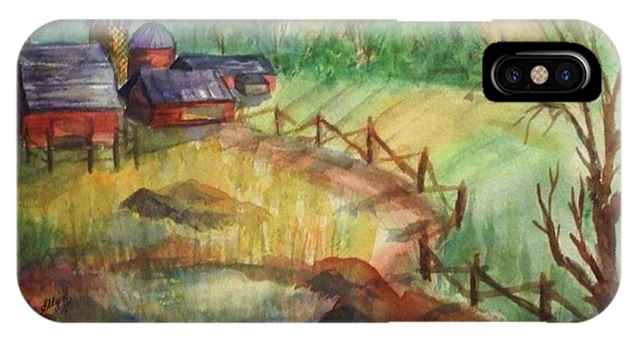 Barn IPhone X Case featuring the painting Down The Road A Piece by Ellen Levinson