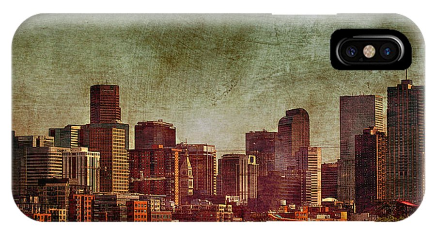 Night IPhone X Case featuring the photograph Downtown Denver Antiqued Postcard by Janice Pariza