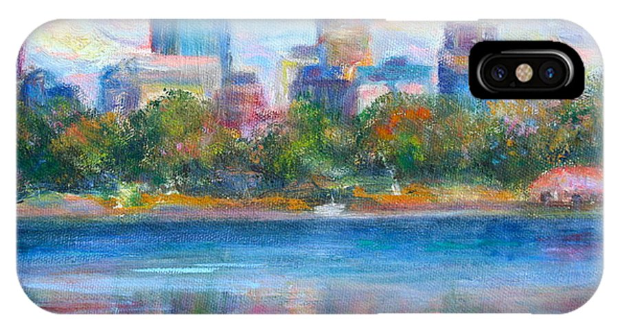 Quin Sweetman IPhone X Case featuring the painting Downtown Minneapolis Skyline From Lake Calhoun by Quin Sweetman