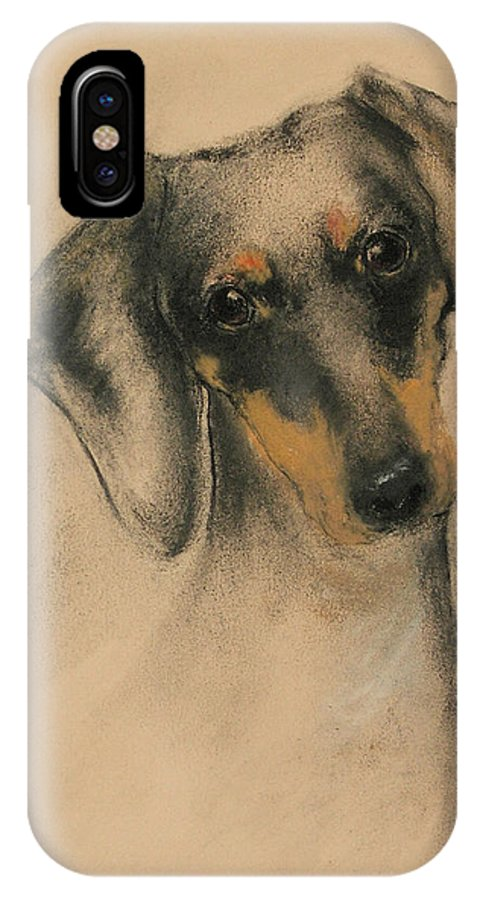 Dachshund IPhone X Case featuring the drawing Doxie by Cori Solomon
