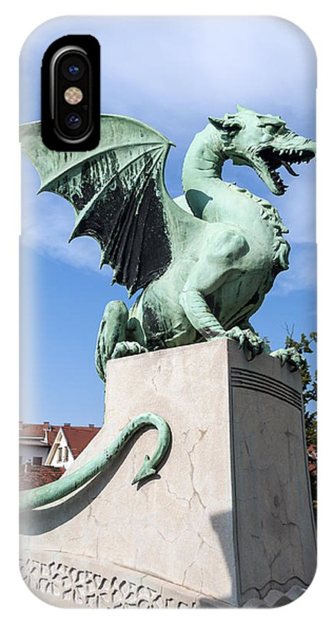 Dragon IPhone X Case featuring the photograph Dragon Bridge. Ljubljana. by Fernando Barozza