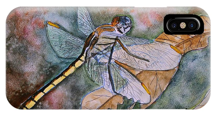Dragonfly IPhone X Case featuring the painting Dragonfly by Derek Mccrea