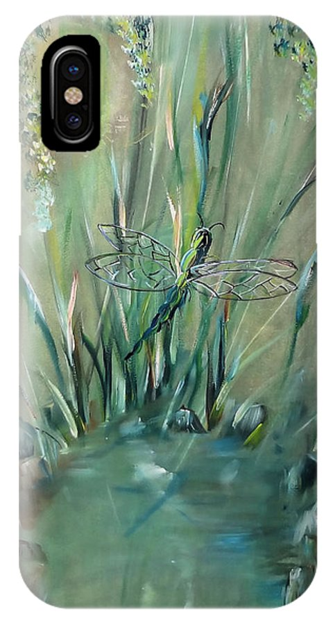 Dragonfly IPhone X Case featuring the painting Dragonfly by Jessica Mason