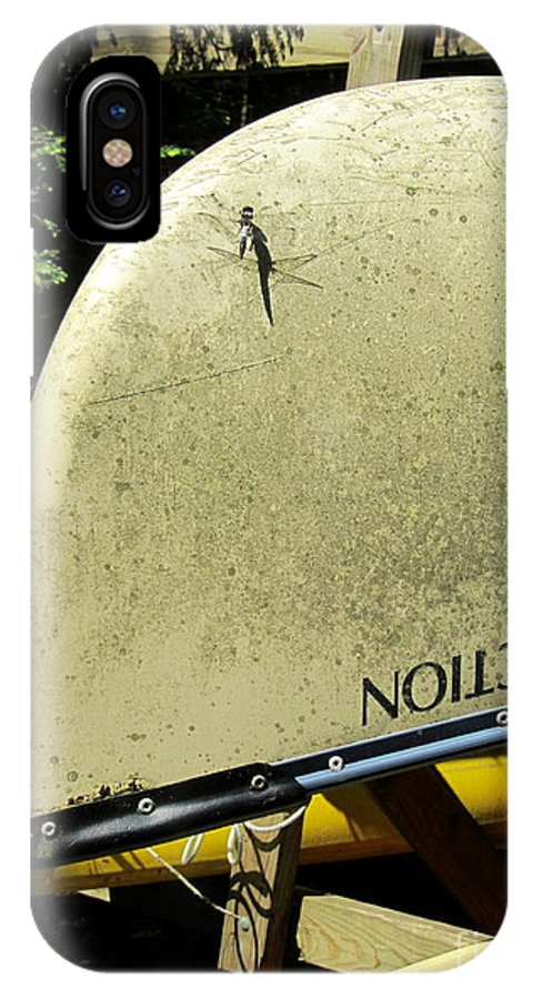 Canoe IPhone X Case featuring the photograph Dragonfly Resting by Avis Noelle