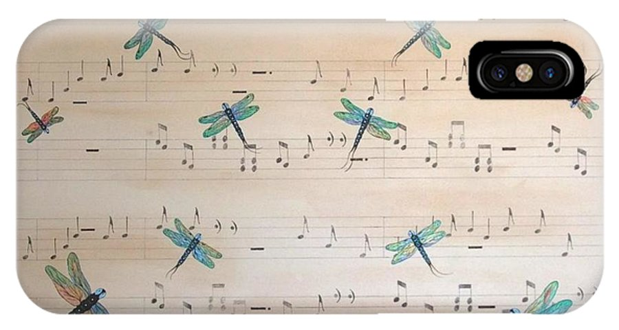 Dragonfly IPhone X Case featuring the painting Dragonfly Symphony by Cindy Micklos