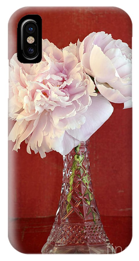 Flower IPhone X Case featuring the photograph Dramatic Peonies Over Red by Sylvie Bouchard