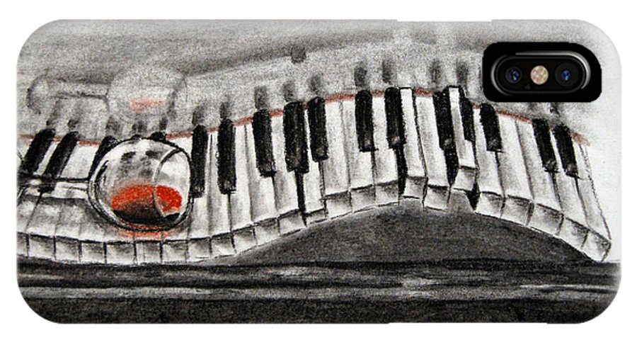 Piano IPhone X Case featuring the drawing The Piano Has Been Drinking... by A R