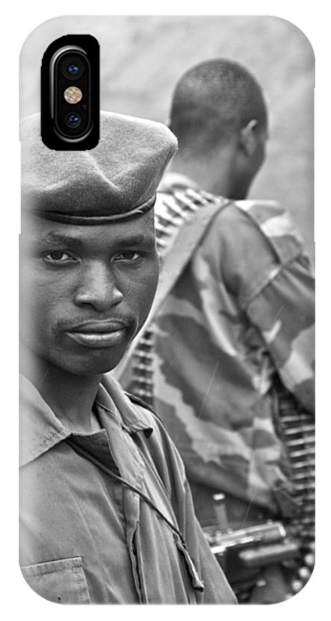 Drc IPhone X Case featuring the photograph Drc Defense Force Soldier by Bob Parr