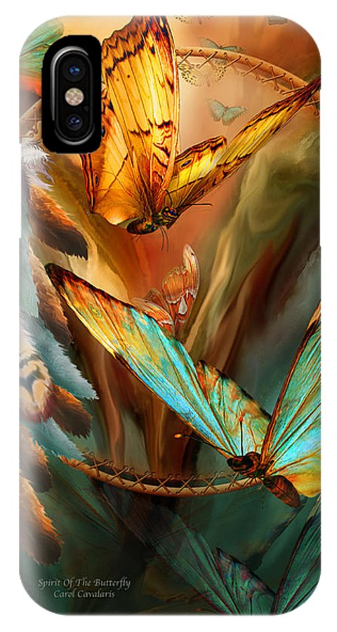 Carol Cavalaris IPhone X / XS Case featuring the mixed media Dream Catcher - Spirit Of The Butterfly by Carol Cavalaris