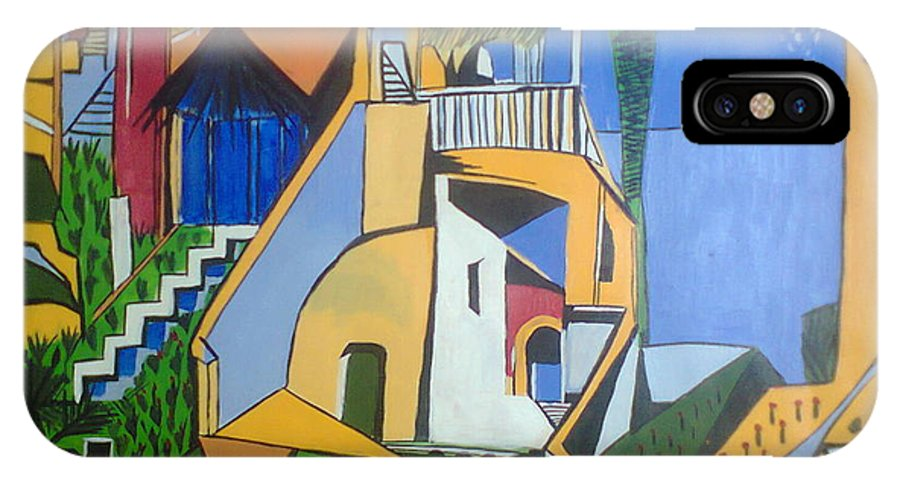 Landscape IPhone X Case featuring the painting Dream Home by Kiran Bhumkar